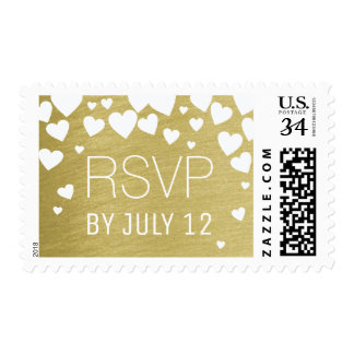 cute love hearts on faux gold RSVP Postage