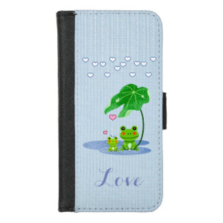 Cute Love Hearts Rain Drops Frog Couple Valentine iPhone 8/7 Wallet Case