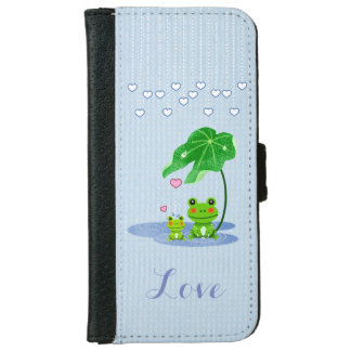 Cute Love Hearts Rain Drops Frog Couple Valentine Wallet Phone Case For iPhone 6/6s
