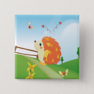 Cute Love Hedgehog with Butterfly Sunny Day Button