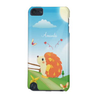 Cute Love Hedgehog with Butterfly Sunny Day iPod Touch 5G Covers
