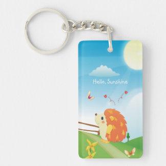 Cute Love Hedgehog with Butterfly Sunny Day Double-Sided Rectangular Acrylic Keychain