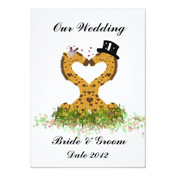 Cute Love Kiss Giraffes Heart  Wedding Invitation