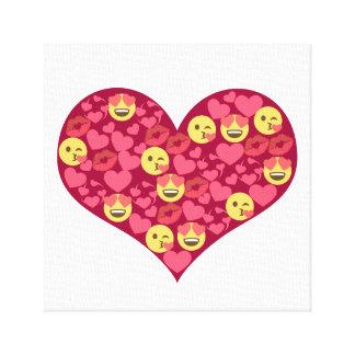 Cute Love Kiss Lips Emoji Heart Canvas Print