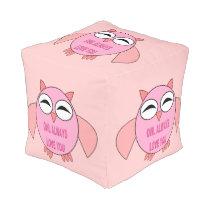 Cute Love Message Owl Cube Pouf