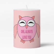 Cute Love Message Owl Pillar Candle