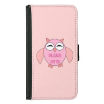 Cute Love Message Owl Samsung Wallet Case