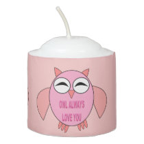 Cute Love Message Owl Votive Candle