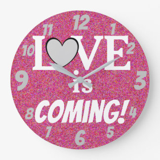 Cute LOVE Message Pink and Silver Large Clock