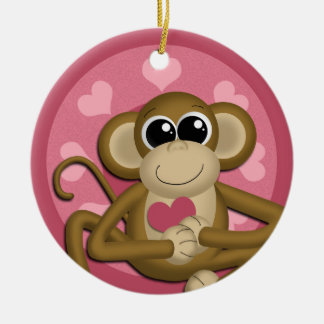Cute Love Monkey Pink ceramic ornament