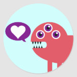 Cute Love Monster Round Stickers