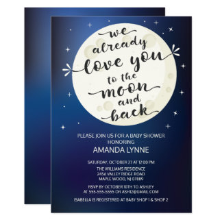 Cute Love Moon & Back Baby Shower Invite