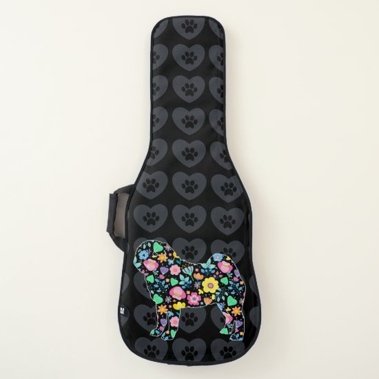Cute Love My Pug floral design Guitar Case