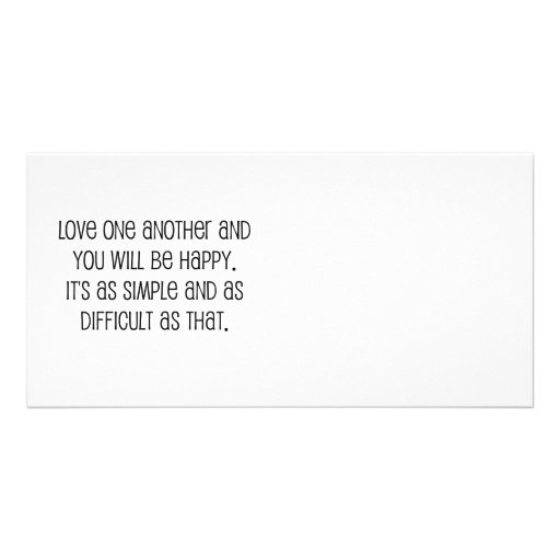"""Cute, """"Love One Another"""" Wedding Quote Customized Photo Card"""