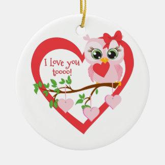 Cute Love Owl Ceramic Ornament