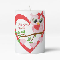 Cute Love Owl Pillar Candle