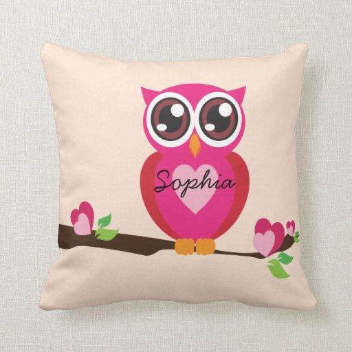 Cute Love Owl With Custom Name Throw Pillow Zazzle