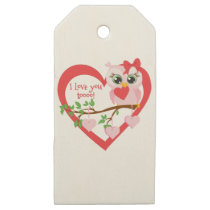 Cute Love Owl Wooden Gift Tags