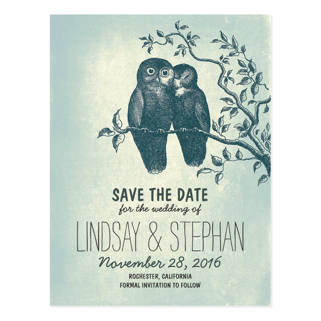 cute love owls couple save the date postcards 8 postcards.