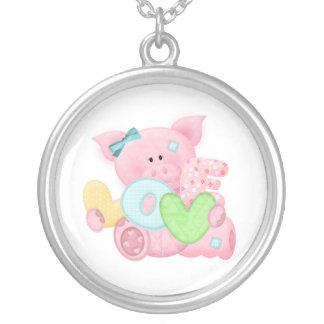 Cute Love Pig Round Pendant Necklace