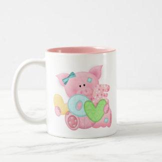 Cute Love Pig Two-Tone Coffee Mug