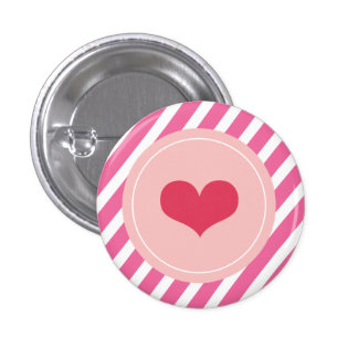 Cute Love Pink Stripes Valentine's Day Buttons