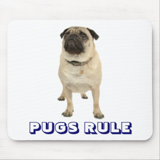 Cute Love Pugs Rule Puppy Dog Mousepad
