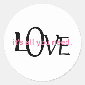 Cute Love Quote Classic Round Sticker