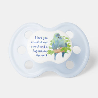 Cute Love Quote with Cuddling Birds Pacifier