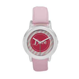 Cute Love Red Circle Pink Stripes Girly Valentine Wristwatches
