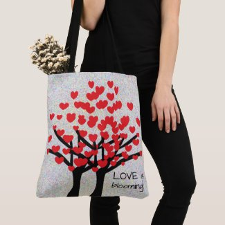 LOVE Red Hearts Trees Design Tote Bag