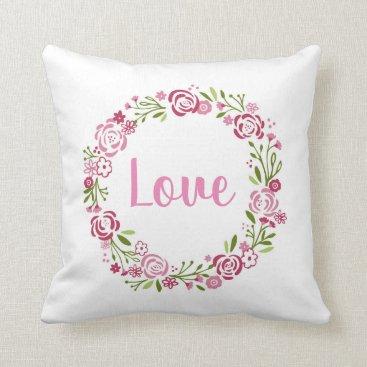 Wedding Themed Cute Love Rose Wreath Throw Pillow