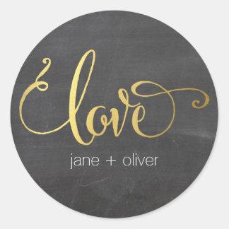 CUTE LOVE SEAL modern typography gold chalkboard Classic Round Sticker