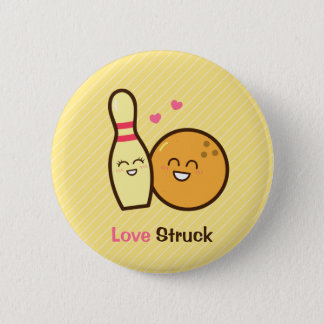 Cute Love Struck Bowling Ball and Pin Button