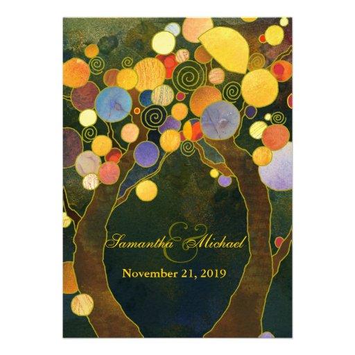 Cute Love Trees Wedding Invitations (Creamy Back)