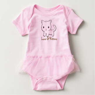 Cute Love White Kitten Pink Baby Tutu Baby Bodysuit