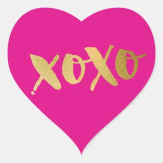 CUTE LOVE XOXO HEART modern gold bright pink Heart Sticker