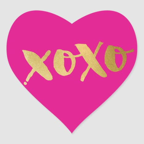 CUTE LOVE XOXO HEART modern gold bright pink Heart Sticker