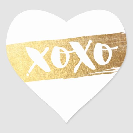CUTE LOVE XOXO HEART modern gold brush stroke Heart Sticker