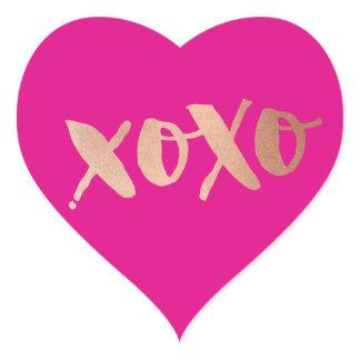 CUTE LOVE XOXO HEART modern rose gold bright pink Heart Sticker