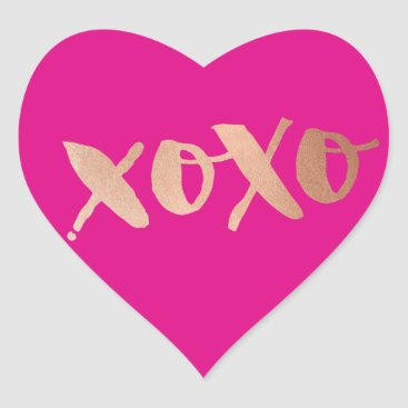 Valentines Themed CUTE LOVE XOXO HEART modern rose gold bright pink Heart Sticker