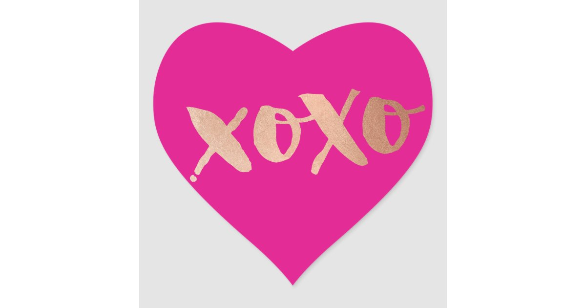 Cute Love Xoxo Heart Modern Rose Gold Bright Pink Heart