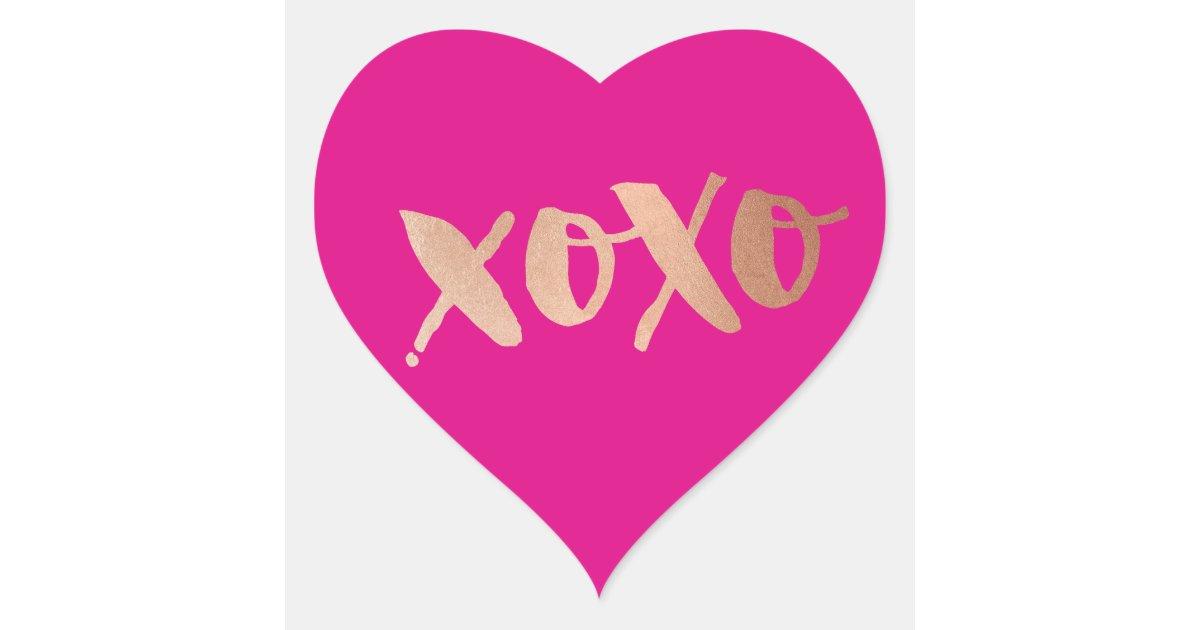 CUTE LOVE XOXO HEART modern rose gold bright pink Heart ...