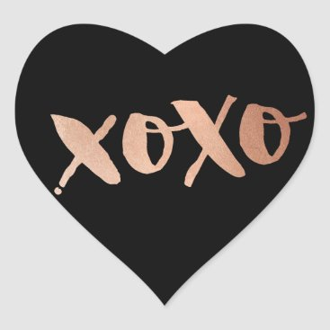 Valentines Themed CUTE LOVE XOXO HEART modern rose gold trendy black Heart Sticker