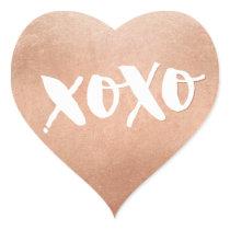 CUTE LOVE XOXO HEART modern rose gold trendy white Heart Sticker