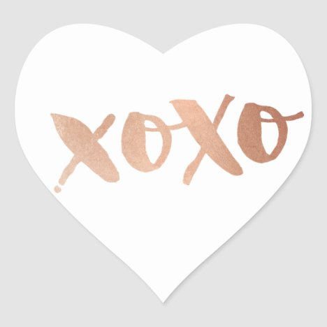 CUTE LOVE XOXO HEART modern rose gold trendy white Heart Sticker