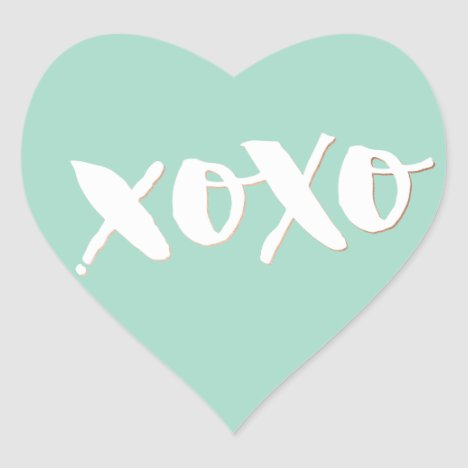 CUTE LOVE XOXO HEART modern trendy white baby mint Heart Sticker
