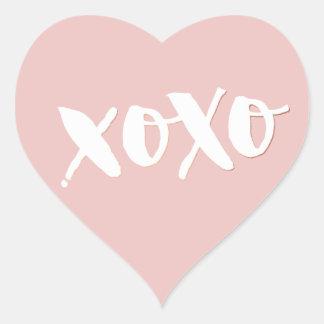 CUTE LOVE XOXO HEART modern trendy white baby pink Heart Sticker