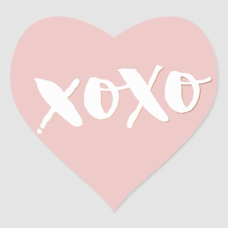 CUTE LOVE XOXO HEART modern trendy white baby pink Heart Sticker