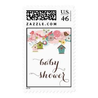 Cute Lovebirds & Birdhouses Baby Shower Postage